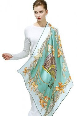 OSCAR ROSSA 100% Silk Scarf, 35″x35″ Large Square Printed Silk Charmeuse Scarf