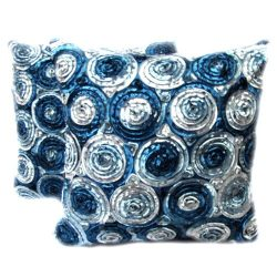 Beautiful, One Pair Two Tone 3d Bouquet of Blue Roses Throw Cushion Cover/pillow By Satin and Th ...