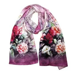 Wrapables Luxurious 100% Charmeuse Silk Long Scarf with Hand Rolled Edges, Blooming Pink
