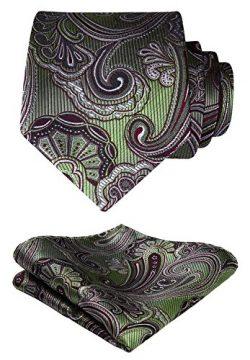 HISDERN Paisley Tie Handkerchief Woven Classic Men's Necktie & Pocket Square Set (Oliv ...