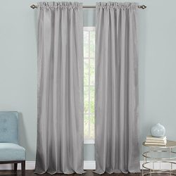 Heritage Landing Faux Silk Lined Window Panel Pair, 96″, Silver