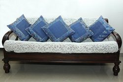 Indian Ethnic Hand Embroidery Decorative Brocade Silk Blue Color Throw Pillow Covers, Pillow Cus ...
