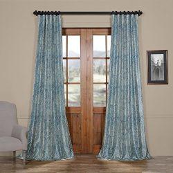 Half Price Drapes Ptpch-170804-120 Wilton Printed Faux Silk Taffeta Blackout Curtain, 50 x 120, Blue