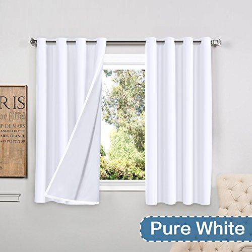 FlamingoP Full Blackout Pure White Curtains Faux Silk Satin with White Liner Thermal Insulated W ...