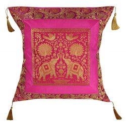Elephant Cushion Cover , Indian Silk Brocade Pillow Cover , Handmade Banarsi Pillow Cover 18 X 1 ...