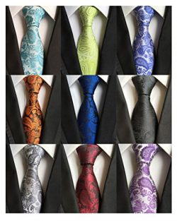 AVANTMEN 9 Pack Men's Neckties Classic Woven Jacquard Neck Ties (Style F)