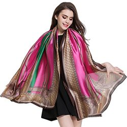K-ELewon Silk Scarf Fashion Scarves Long Lightweight Sunscreen Shawls for Women SK063(Rose red)