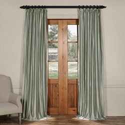 Half Price Drapes CTSK-161008-96 Cotton Silk Curtain, 50 X 96, Quarry Blue