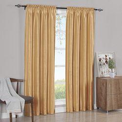 Set of 2 Panels 84″Wx96″L – Solid Gold- Soho Faux Silk Curtain Panels , 42-Inc ...
