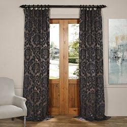 Half Price Drapes JQCH-20126104-108 Astoria Faux Silk Jacquard Curtain,Mercury Grey & Dark S ...
