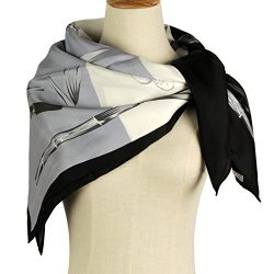 Silk Scarf Square Scarf Black – Pantonight 100% Pure Silk 14MM Hand Rolling Edge Silk Twil ...