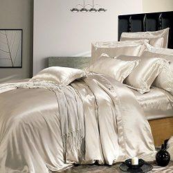 THXSILK Silk Duvet Cover Set 4 Piece, Silk Sheets, Luxury Bedding Sets – Ultra Soft, Machi ...