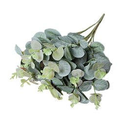 Artificial Silk Flowers,Lavany Artificial Fake Leaf Eucalyptus Leave Simulation Leaves Wedding P ...
