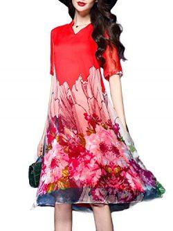 Honwenle Women's Vintage Round Neck Half Sleeve Side Slit Floral Hollow Out Silk Dress