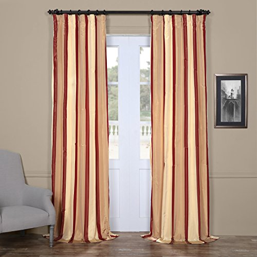 Half Price Drapes PTS-SLK211-108 Faux Silk Taffeta Stripe Curtain, 50 X 108, Manchester