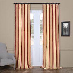 Half Price Drapes PTS-SLK211-84 Faux Silk Taffeta Stripe Curtain, 50 X 84, Manchester