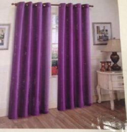 Bright Purple Solid 1Pc Grommet Panel Solid Silk Window Curtain Drapes Many Colors 55″ X 8 ...