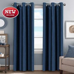 Bedroom Curtain Energy Efficient Home Fashion Drape Dimming Light Faux Silk Panel, Room Darkenin ...