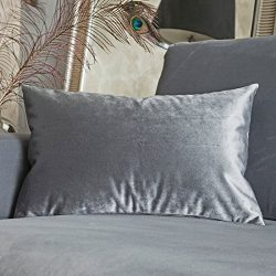 Home Brilliant Solid Velvet Rectangular Accent Throw Pillow Cover Cushion Cover Pillowcase for B ...