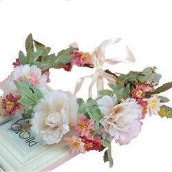 Vivivalue Christmas Camellia Berries Handmade Flower Headband Hair Wreath Halo Floral Garland Cr ...