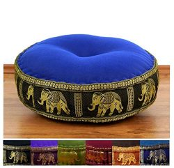 Colourful Zafu Meditation Cushion 18x18x6 inches (LxWxH) in Silk Look for Yoga filled with 100%  ...
