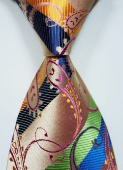 Scott Alone : New Classic Paisley Orange Blue Green.new Jacquard Woven Silk Men's Tie Necktie