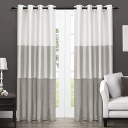 Exclusive Home Curtains Chateau Striped Faux Silk Grommet Top Window Curtain Panel Pair, Dove Gr ...