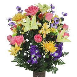Salmon Rose and Purple Iris Silk Flower Bouquet with Stay-In-The-Vase® Design Flower Holder(LG1201)