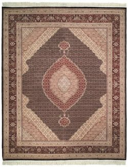 Safavieh Tabriz Herati Collection TH4B Hand-Knotted Traditional Multicolored Silk & Wool Are ...