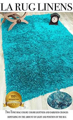 Turquoise Blue Aqua Shaggy Shag Area Rug 5 X 7 High End Designer Quality Feather shag Flokati Hi ...