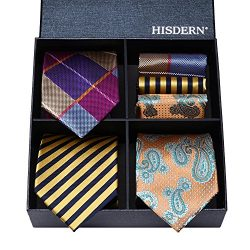 HISDERN Lot 3 PCS Classic Men's Tie Set Necktie & Pocket Square Elegant Neck Ties Coll ...