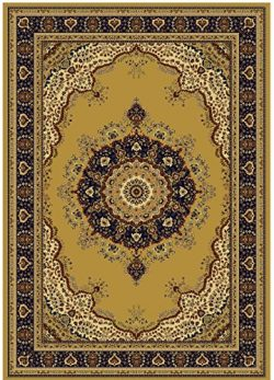 Silk Rugs Gold 5×8 Area Rug Beige Silk Traditional Carpet Rugs 5×7 Living Room Beige R ...