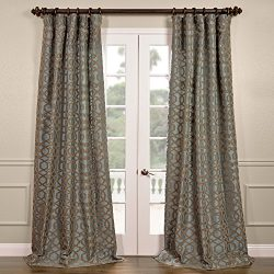 Half Price Drapes PTFFLK-C23A-120 Flocked Faux Silk Curtain, 50 x 120, Filigree Blue