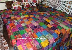COR's King Size Patola Silk Patch Work Kantha Quilt , Kantha Blanket Bedspread, Patch Kant ...
