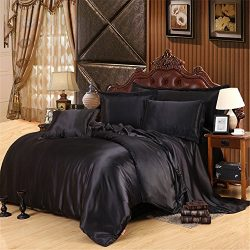 Lotus Karen Top Quality Satin Silk Like Solid Color 4-piece Bedding Sets- 1Duvet Cover,1Flat She ...