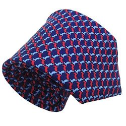 Qobod Classic Men's 100% Silk Tie Necktie Woven JACQUARD Neck Ties gift box (ST051 RED SKY ...