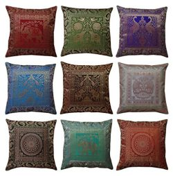 My Craft Palace 10 Pc Lot Handmade Banarsi Pillow Covers 16″X16″ Home Decor Silk Cus ...