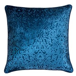 Homey Cozy Modern Velvet Throw Pillow Cover,Spa Blue Luxury Elegant Floral Soft Fuzzy Cozy Warm  ...