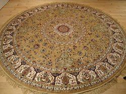 Persian Silk Brand Gold Rug Large Round Rug Beige Rugs Silk Circle Shape Area Rugs 8×8 Roun ...