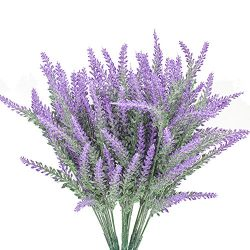 6 Bundles Artificial Flowers Lavender Bouquet in Purple Artificial Plant Arrangement Lifelike Na ...