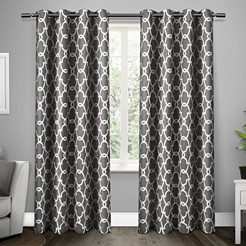 Exclusive Home Curtains Gates Sateen Blackout Thermal Grommet Top Window Curtain Panel Pair, Bla ...