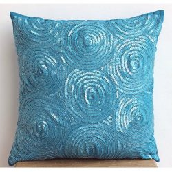 Designer Blue Throw Pillows Cover, Contemporary Geometric Throw Pillows Cover, 12″x12̸ ...