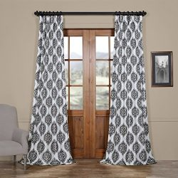 Half Price Drapes Ptpch-170808B-84 Donegal Printed Faux Silk Taffeta Blackout Curtain, 50 x 84, Grey