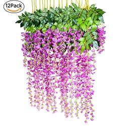 12 Pack 1 Piece 3.6 Feet Artificial Flowers Silk Wisteria Vine Ratta Hanging Flower for Wedding  ...