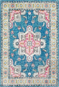 Surya Aura Silk-2′ x 3′ Area Rug 2′ x 3, 2′ x 3′ , Blue, Pink