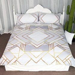 Modern Gold Geometric Duvet Cover Set 3 Pieces Silver Geometry Gold Square Bedding Set Simple Co ...