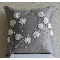 Luxury 22″x22″ Decorative Pillow Covers, Grey Throw Pillows Cover, Ribbon Flower Pil ...