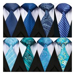 Barry.Wang Men's Ties Silk Woven Neckties Blue Paisley/ Floral Tie Sets Bussiness 8 Pack