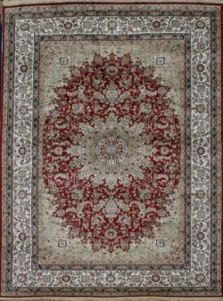 Silk silk347red_2x4 New Traditional Isphan Ultra Low Pile Area Rug, 2′ x 3′, Garnet Red