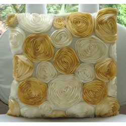 Handmade Ivory Cushion Covers, Ribbon Gold Rose Flower Floral Theme Pillows Cover, 18″x18& ...